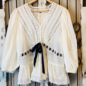 Free People Peasant Top White with Navy Ribbon M